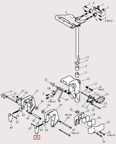 Ручка зажима струбцины для лодочного мотора F9.8 Sea-PRO (13-46)
