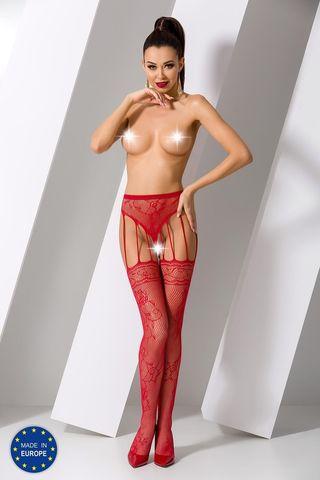 Эротические колготки с доступом S016 красного цвета фото