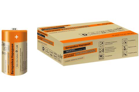Элемент питания R20 D Zinc Carbon 1,5V SH-2 Народный