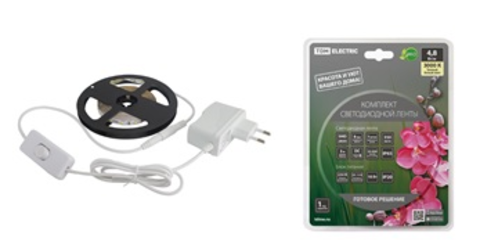 Комплект светодиодной ленты SMD2835-60 LED/м-12 В-4,8 Вт/м-IP20-3000 К (5 м), 24 Вт TDM