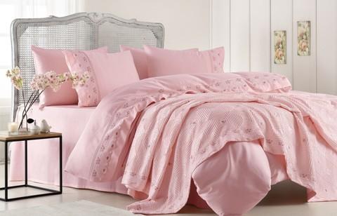 Набор КПБ с покрывалом Gelin Home Gulcicek (розовый) евро