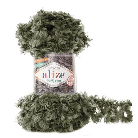 Купить Пряжа Alize Puffy Fur Цвет 6117 Хаки | Интернет-магазин пряжи «Пряха»