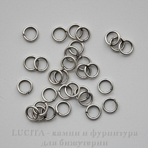 Винтажное колечко одинарное 8х1,3 мм (оксид серебра)
