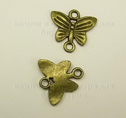 """Коннектор """"Бабочка"""" (1-1) 14х13 мм (цвет - античная бронза)"""