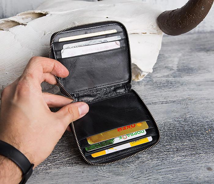 WL289-1 Оригинальный кошелек на молнии для карт, купюр и монет фото 06
