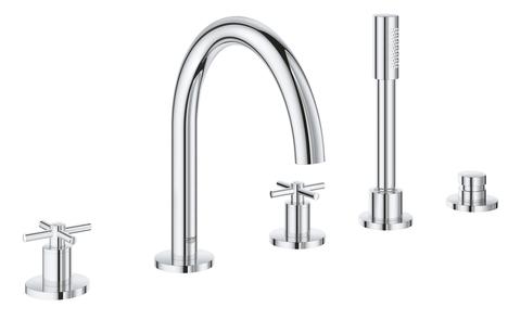 Atrio New Комлект для ванны на 5 отверстий (смеситель двухвентильный, круглый излив, крестообразные ручки, ручной душ, переключатель), может быть использован с 29 037 001
