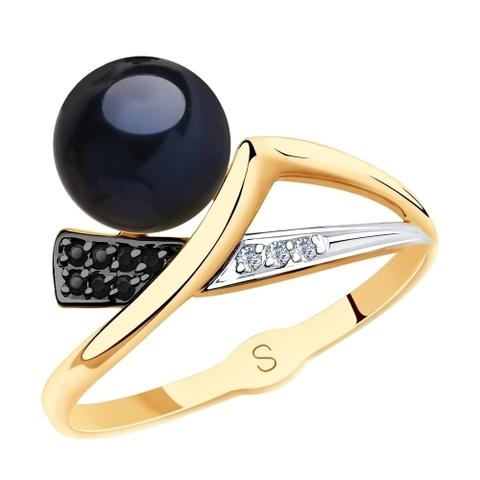 791141 - Кольцо из золота с чёрным жемчугом и фианитами