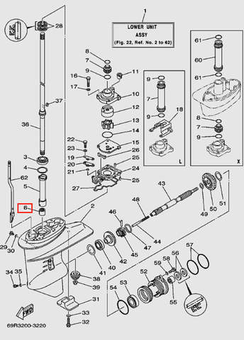 Подшипник игольчатый F-2020 для лодочного мотора Т30 Sea-PRO (17-6)