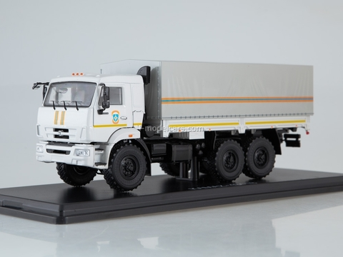 KAMAZ-43118 flatbed truck with awning MCHS white 1:43 Start Scale Models (SSM)