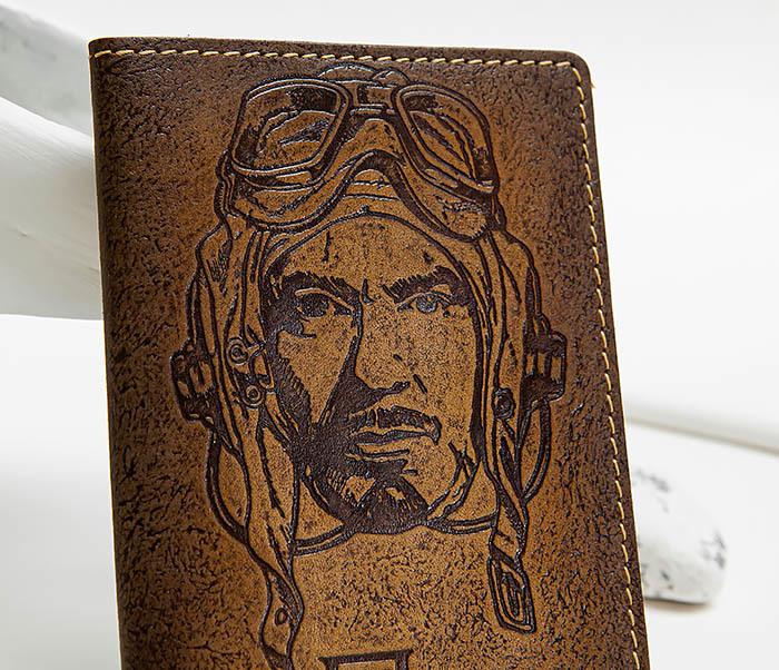BY140214 Кожаная обложка на паспорт «Пилот» фото 03