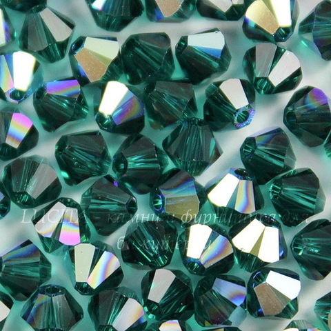 5328 Бусина - биконус Сваровски Emerald AB 4 мм, 10 штук