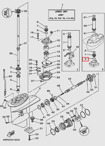Кольцо уплотнительное в помпе 2*24 для лодочного мотора Т30 Sea-PRO (17-8)