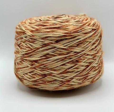 Бобинная пряжа STOK (пр.Италия), 40м/100гр, 30%шерсть 10%альпака 50%акрил 10%полиамид с пайетками , цвет - Бежевый+оранжевый арт.2936