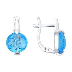 Серьги из серебра с голубыми стеклянными вставками