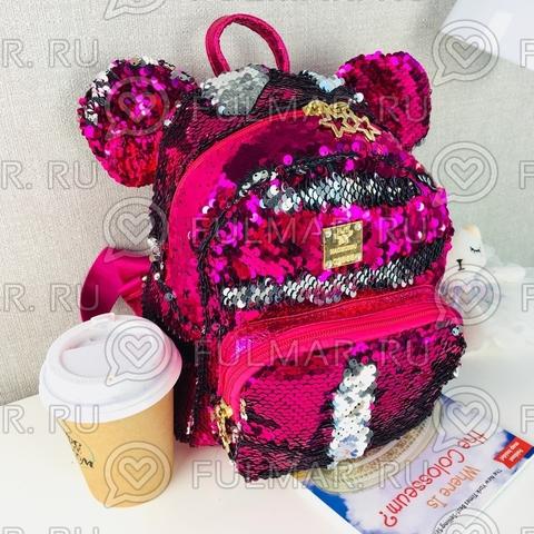 Рюкзак с пайетками и ушами Фуксия-Серебристый меняющий цвет
