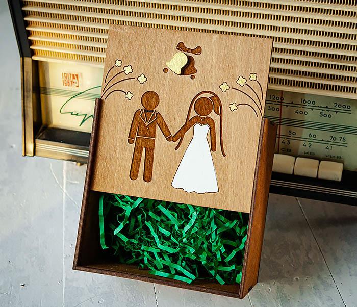 BOX250-2 Свадебная коробка для подарка с веревочными ручками (17*17*10 см) фото 05