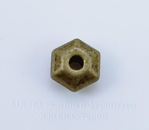 "Бусина металлическая ""Грани"" 5х3 мм (цвет - античная бронза), 10 штук"