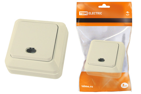Выключатель 1-кл. открытой установки с подсветкой IP20 10А, сл. кость