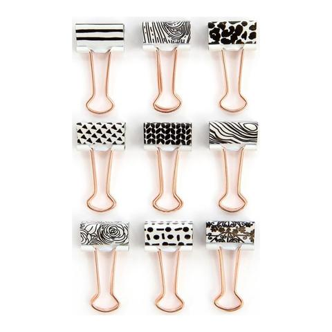 Декоративные зажимы My Prima Planner Metal Binder Clips- #3 White & Gold W/Black Designs -9шт