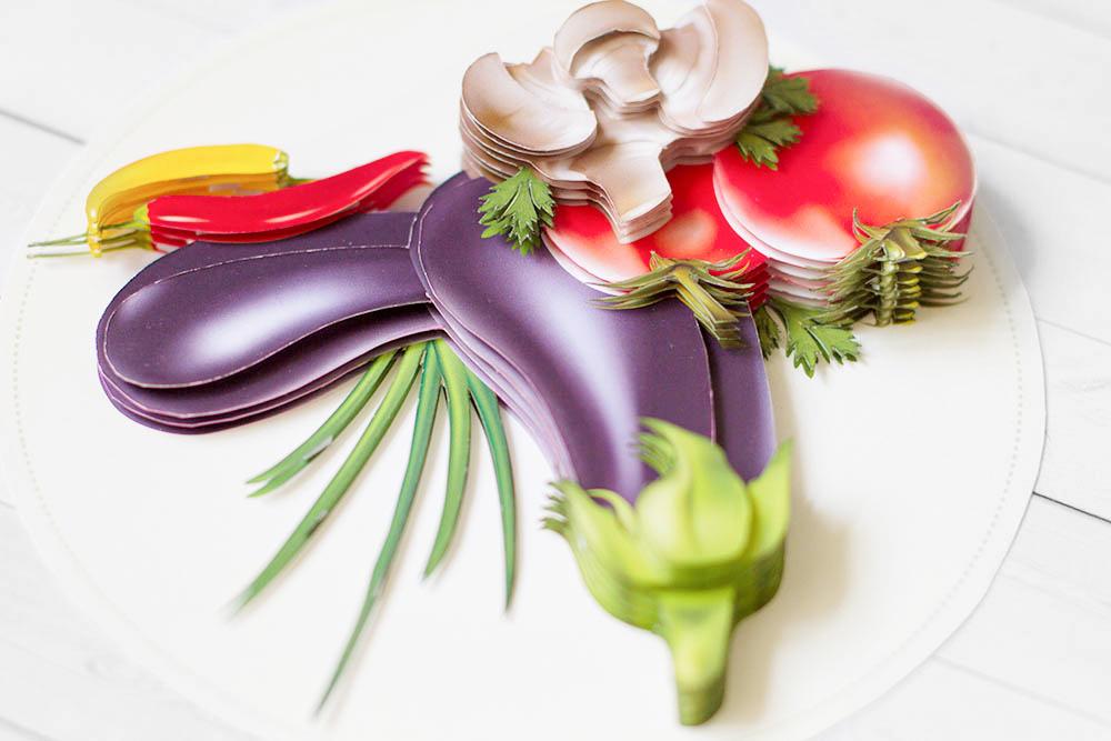 Натюрморт с овощами - готовая работа, вид сверху.