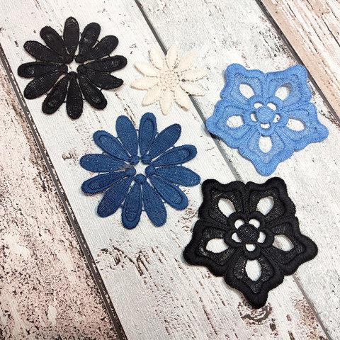 Набор из пяти вышитых цветочков