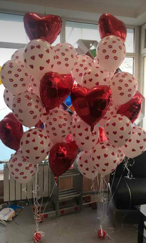 шары на день всех влюбленных, фольгированные 800 тг, с рисунком 400 тг
