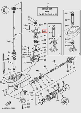 Корпус помпы для лодочного мотора Т30 Sea-PRO (17-10)