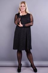 Тала. Женское платье больших размеров. Серый графит.