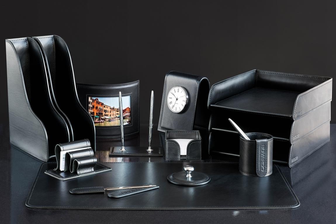 черный Настольный набор для руководителя 14 предметов из кожи Full Grain Black