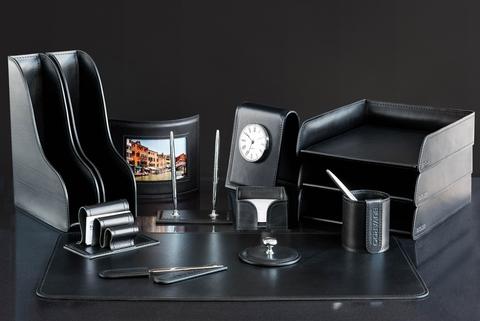 Настольный набор для руководителя 14 предметов из кожи Full Grain Black