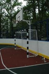 Стойка баскетбольная Г-обр уличная стационарная бетонируемая вынос 1.2 м (щит 1800х1050мм фанера 18 мм)