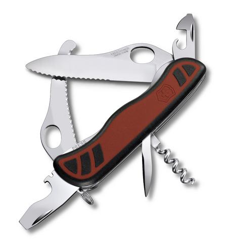 Нож Victorinox Dual Pro, 111 мм, 10 функций, с фиксатором лезвия, красный с чёрным
