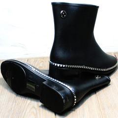 Резиновые сапоги ботинки без шнурков женские Hello Rain Story 1019 Black