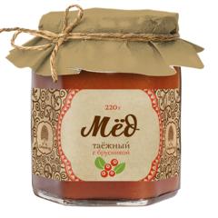 Мёд Таёжный, Сибирский Кедр, с соком брусники, 220 г