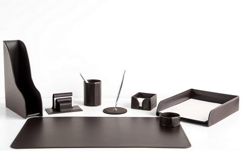 Набор на стол руководителя арт.1352-СТ-8 темно-коричневый шоколад 8 предметов кожа Cuoietto.