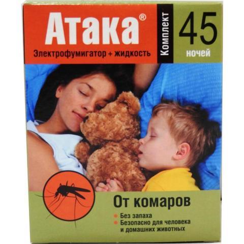 Средства от насекомых АТАКА фумигатор+жидкость 45 ночей