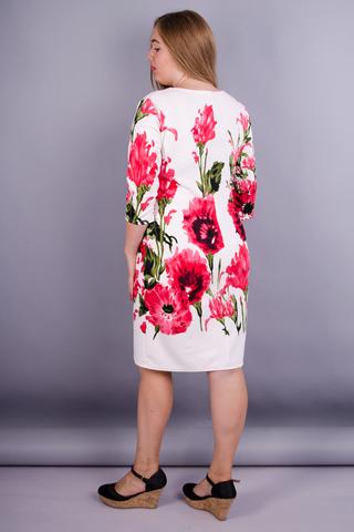 Арина француз принт. Нарядное платье плюс сайз. Цветок белый.