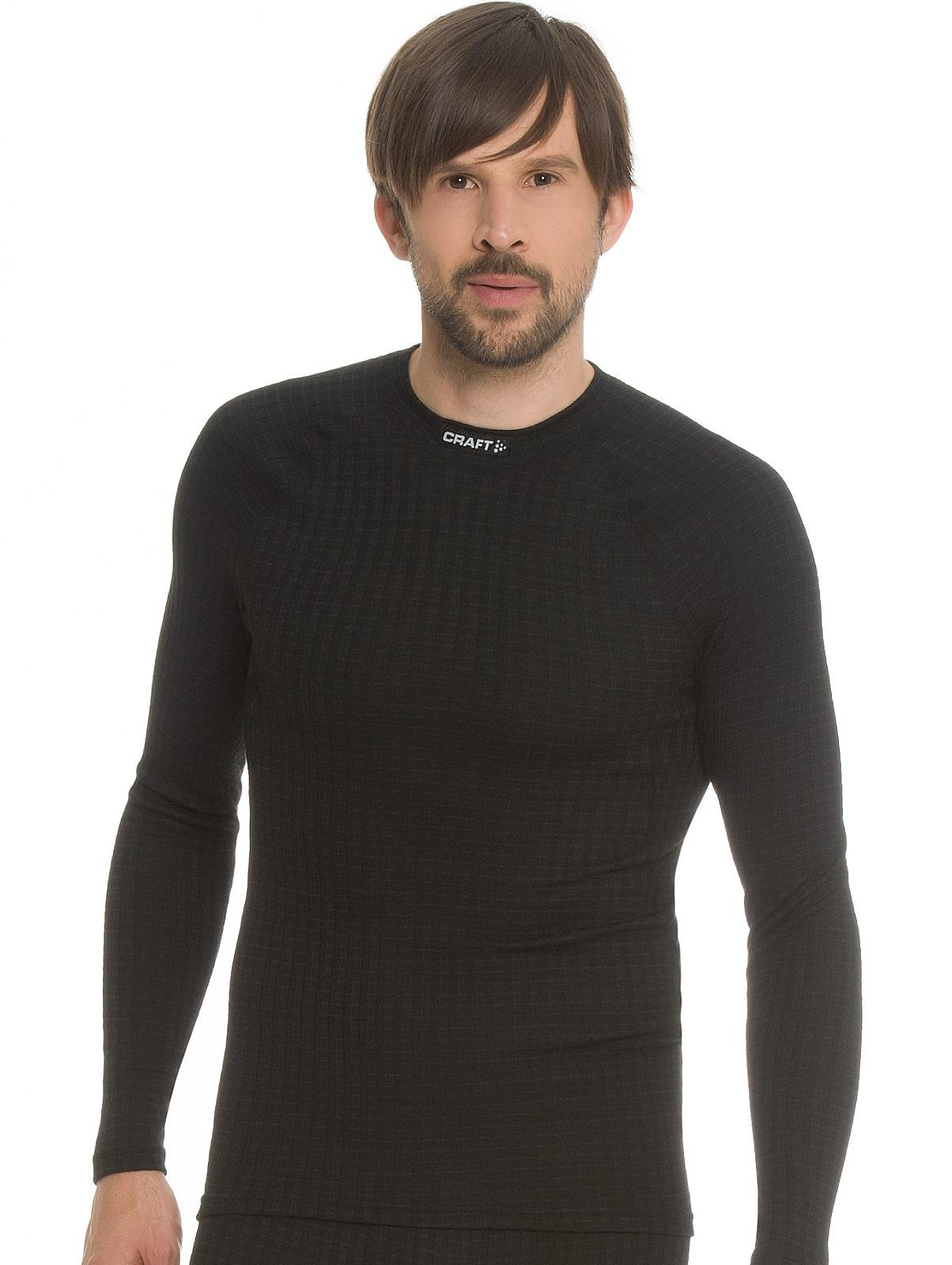 Мужское термобелье рубашка с шерстью мериноса Craft Warm Wool Black (1903726-9999) фото