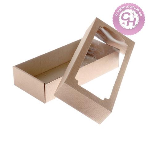 Коробка с окном прямоугольная, однотонная, 24 х 11 х 4,5 см, 1 шт.
