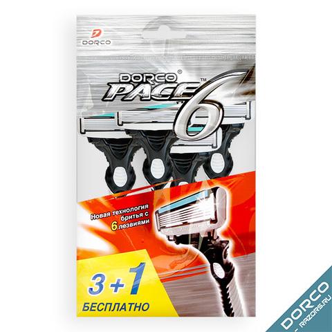 Dorco Pace 6 Одноразовые станки для бритья с 6 лезвиями 4шт. (3+1 в Подарок)