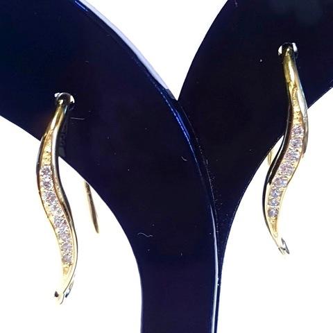 Швензы арт. lux-fur-618-1 (1 пара) открытые золото с цирконами