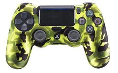 PS4 Чехол для геймпада DualShock 4 (камуфляж салатово-зелёно-черный перламутровый, накладки + наклейка)