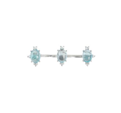 Кольцо-кастет с голубыми топазами