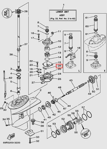Прокладка резиновая помпы для лодочного мотора Т30 Sea-PRO (17-26)