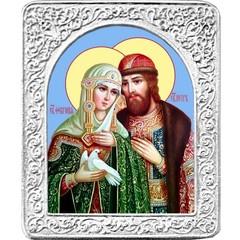 Святые Петр и Февронья. Маленькая икона в серебряной раме.