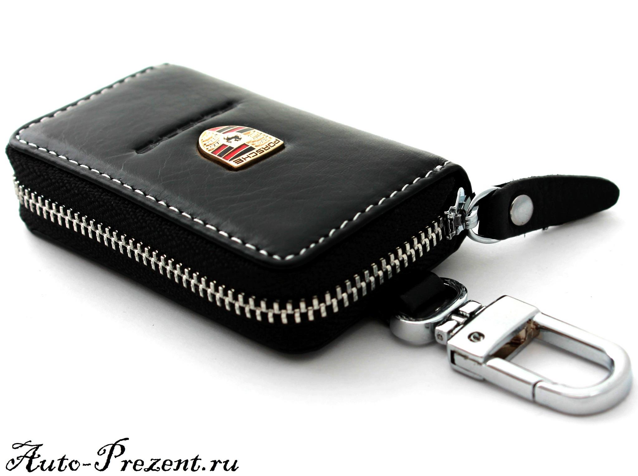 Кожаный чехол для ключа с логотипом PORSCHE