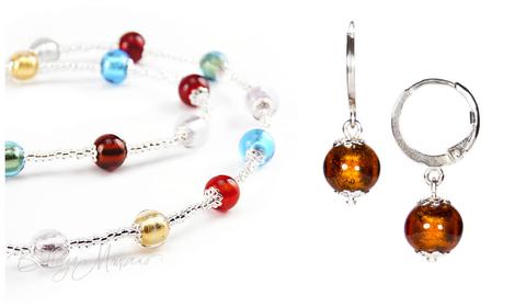 Комплект Carnavale Argento Piccolo (янтарно-бронзовые серьги Piccolo, ожерелье)
