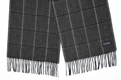 Шерстяной шарф серый в клетку 31311