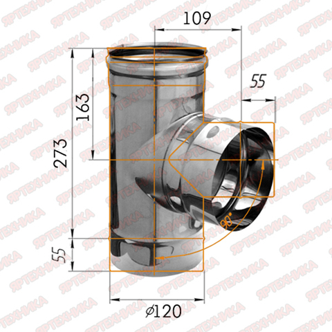 Тройник-К 90° d120мм (430/0,5 мм) Ferrum
