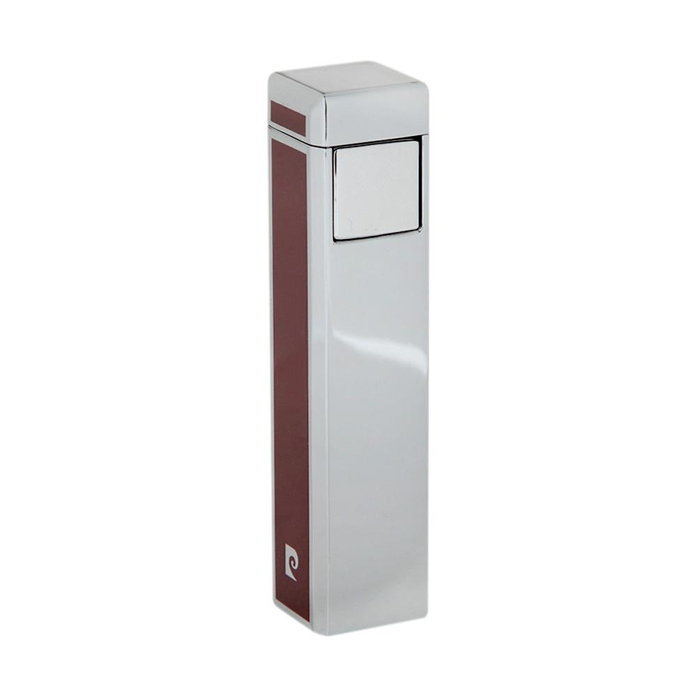 Зажигалка Pierre Cardin кремниевая газовая пьезо, цвет хром/красный лак, 1,7х1,7х7,5см